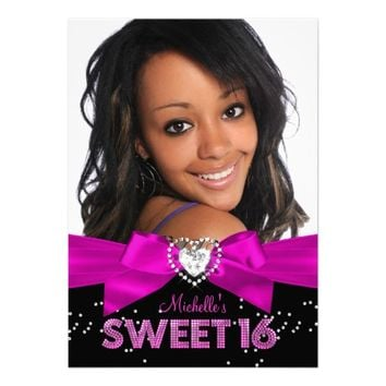 Hot Pink & Black Heart Bow Photo Sweet 16 Invite