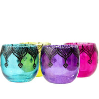 Gypsy Inspired Henna Designed Purple Glass Votive by LITdecor