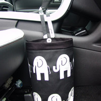Car Trash Bag Black/White Elephants