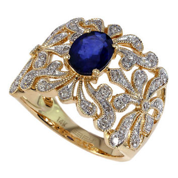 Effy Royale Bleu Sapphire and Diamond Ring in 14 Kt. Yellow Gold