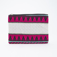 Mixed Geo-Patterned Zippered Clutch