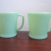 pair of vintage fire king jadeite jadite D by valeriesvintagehome