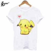 Hot Sale Pokemon Go Pikachu 3D Print T-Shirt Plus Size Cute Casual Elastic All-Match White T Shirts Kawaii Loose Funny Tops H967
