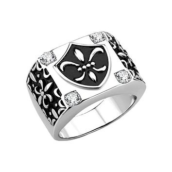 The Monarch - Men's Stainless Steel High Polished CZ Statement Ring