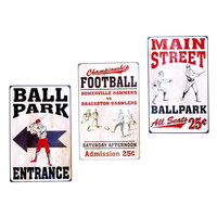 PLAY BALL TIN SIGNS 3 ASSORTED