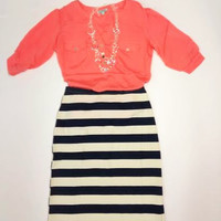 Madonna Striped Mid Length Skirt: Ivory & Navy