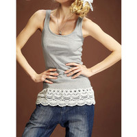 Cotton Tank Clothes/Grey Stretchy Spaghetti Strap with Lace Sides/Spring Summer Tank Top/ Lace Clothes