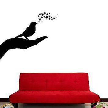 Wall Stickers Vinyl Decal Hand Palm Singing Bird Stars Romantic Unique Gift (z1808)