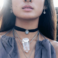 Majestic Moonstone Silk Choker Necklace