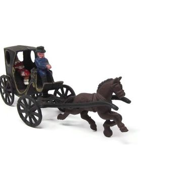 Cast Iron Horse Carriage with Driver and Passenger