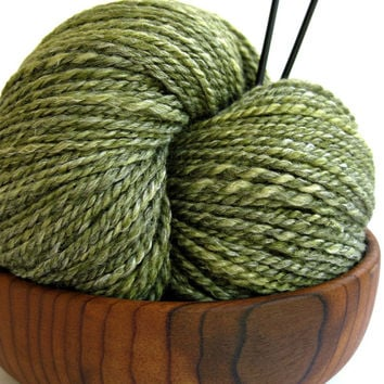 hand spun yarn, handspun yarn, hand dyed yarn, hand painted yarn, handpainted yarn, merino bamboo blend, 2 ply, green olive yarn, worsted