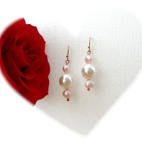 Pearl Earrings - Dangling Earrings - Pink Freshwater Pearl - White Shell Pearl Earrings - Mother's Day Gift