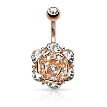 ac DCCKO2Q Cute Flower Dangle Belly Button Rings Sexy Crystal Double Piercing Barbell Surgical Steel Navel Piercing Fashion Body Jewelry