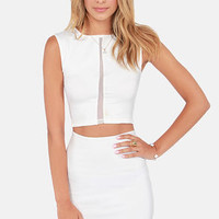 Caught in the Middle Sleeveless Ivory Crop Top
