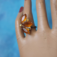 OOAK Amber and Aurora Borealis Repurposed Vintage Rhinestone Cocktail Ring