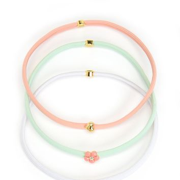 White Set Of 3 Charmy Headbands by Juicy Couture, O/S