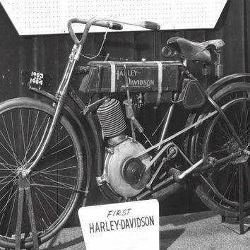 1903 Harley Davidson Motorcycle- Bicycle - - : Old Antique Vintage Photograph Photo Print *Reproduction*