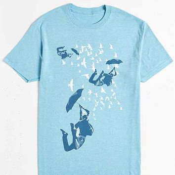 Design By Humans Sky Diving With Umbrella Tee