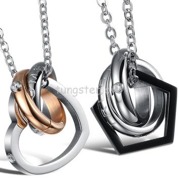 "Stainless Steel Cz ""Dream Come True"" 2 Circle & Love Heart Pentagon Shaped Circle Interlocking Pendant Couple Necklaces"
