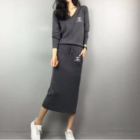 """Chanel"" Women Casual Fashion Knit V-Neck Long Sleeve Drawstring Hem Split Maxi Dress"