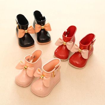 Girl Boots Baby Kids Rain Boots baby girls Rain Boots Warm Beauty Bow Rainboots Fashion Rubber Shoes Toddler Kids Jelly shoes