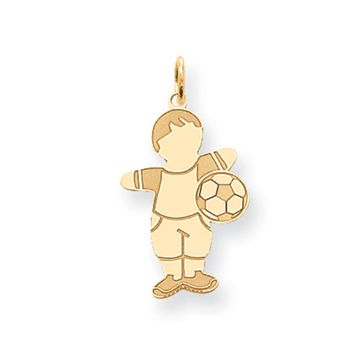 14k Yellow Gold Laser Etched Soccer Boy Charm or Pendant, 14mm