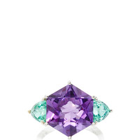 Hexagonal Amethyst and Trillion Shape Mint Tourmaline Ring