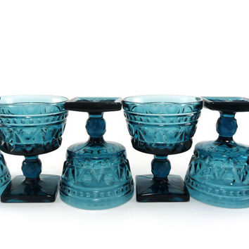 Deep teal blue glass compotes, dessert dishes, set of 6