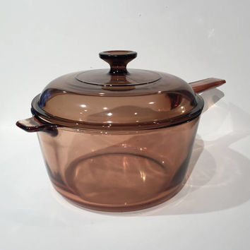 Pyrex Visions 2.5L Amber Glass Saucepan with Lid, Vintage Corning Glass Saucepan
