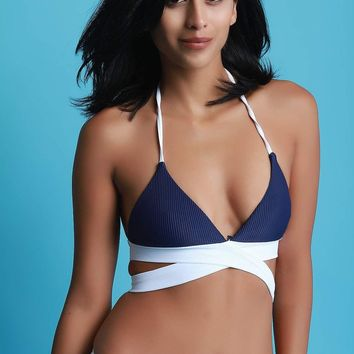 Ribbed Knit Wrap Around Halter Bikini Top