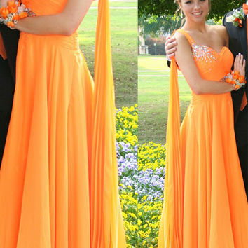 A-Line One Shoulder Long Prom Dresses