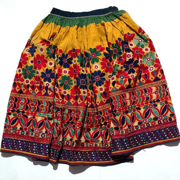 Gypsy Rabari Skirt Vintage Banjara Skirt Hand Embroidered Skirt Authentic Banjara Skirt Tribal Skirt