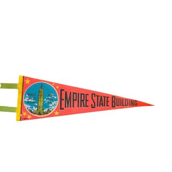 Vintage 1970s Empire State Building NYC World's Tallest Building Felt Flag Pennant
