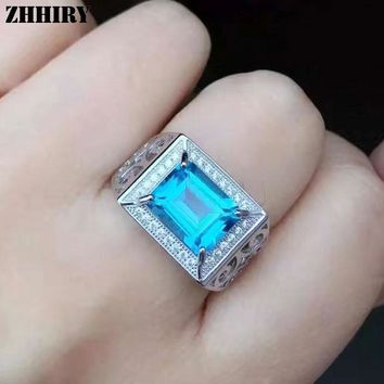 ZHHIRY Men Gemstone Rings Genuine Natural Topaz 925 Sterling Silver Man Ring Real Precious Blue Gemstone Fine Jewelry