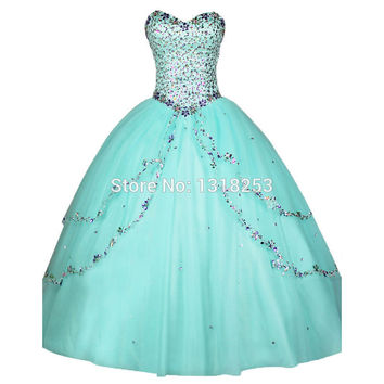 Purple Blue Gold Crystal Quinceanera Dresses sweet sixteen Party vestido de 15 anos Plus Size Prom Princess debutante Gowns