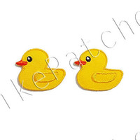 Set 2pcs. Cute Yellow Duck Animal New Sew / Iron On Patch Embroidered Applique Size 3.5cm.x3cm.