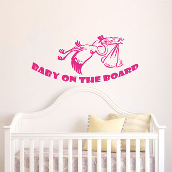 Childrens Wall Decals Phrase Baby on the board - Stork with baby Decals - Wall Decals Quotes - Wall Decal Words - Nursery Wall Decor V973