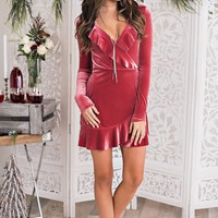 While We're Young Velvet Dress (Rose)