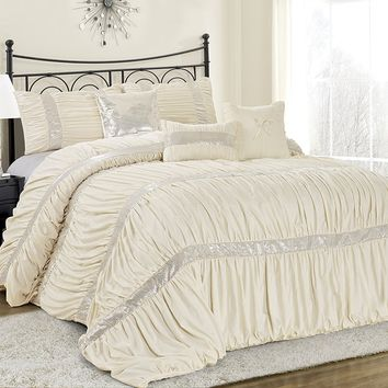 Ciara Sequin Ruched Ivory 7PC Comforter Bed Set
