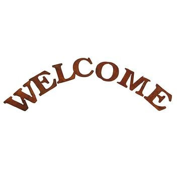 Rustic Metal Welcome Sign Home Decor, Rust, 3-1/4-Inch