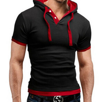 Men'S T Shirt 2016 Summer Fashion Hooded Sling Short-Sleeved Tee