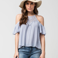 FULL TILT Crochet Cold Shoulder Womens Top | Blouses