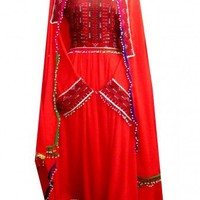 Kuchi Dress, Qataani Gagra, in red Color