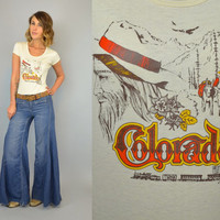 Vtg 70s COLORADO nature beauty scenery NOVELTY train mountain man babydoll T-SHIRT, extra small-medium