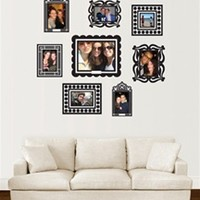 Stickr Frames Set of 8 Black Peel N Stick Dorm Decor Wall Picture Frames