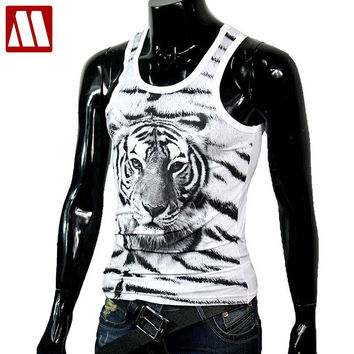 Men's Fashion Tigers Tanks printed undershirt for man slim fit cotton tees t shirts male Tank Tops