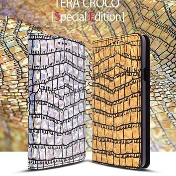 SAUVANUEL Tera Croco Hologram Genuine Leather Case for Galaxy Note 4