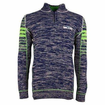 NFL Seattle Seahawks Slant Plated Gauge Sweater - Small