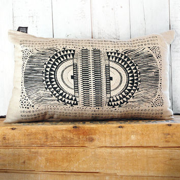 Okapi -  Black and Linen Hand Printed Native Tribal African Print Pillow - by Bark Decor
