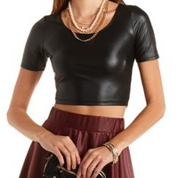Faux Leather Scoop Neck Crop Top by Charlotte Russe - Black